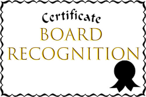 Board Recognition Certificate